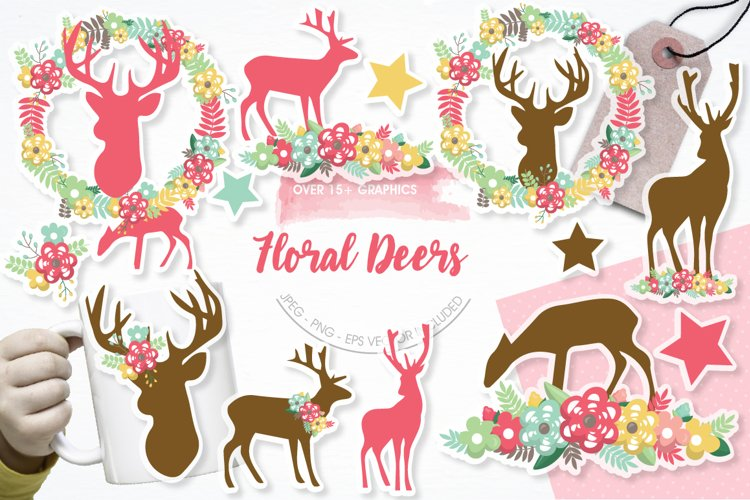Floral Deers graphics and illustrations example image 1