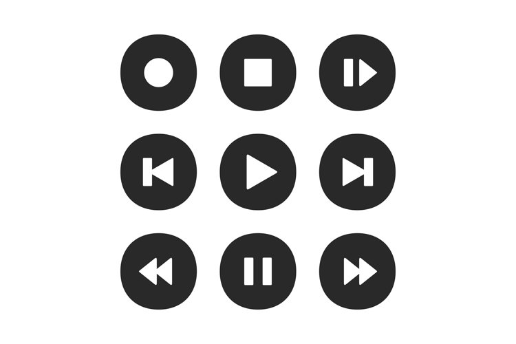 Music player buttons. Play icon, stop pause record and next example image 1