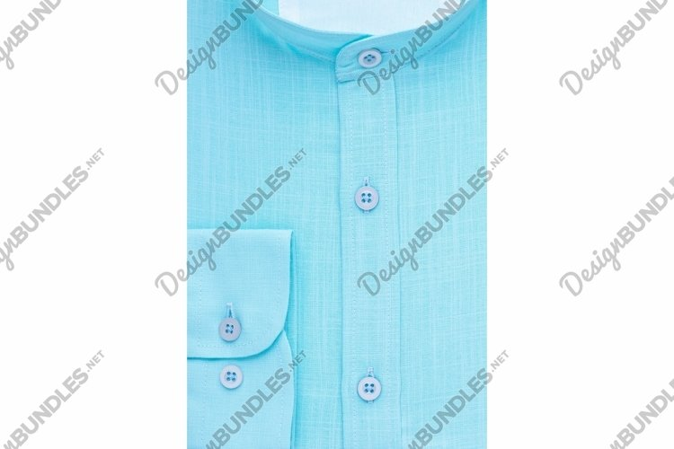 Green shirt with a focus on the collar and button, close-up example image 1