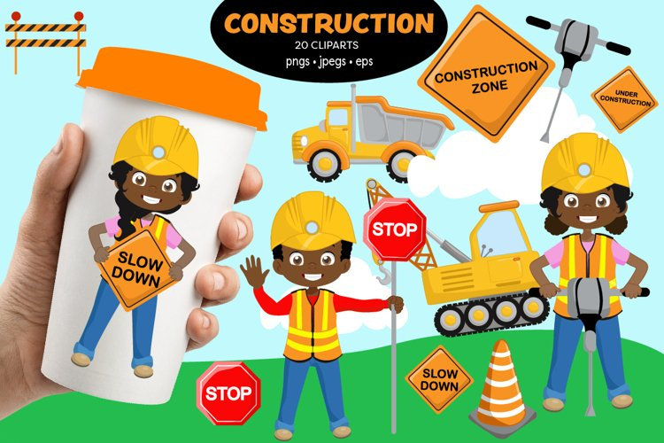 Cute African American Construction clipart