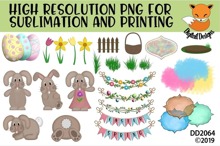Spring Easter Elements PNG for Sublimation example image 1