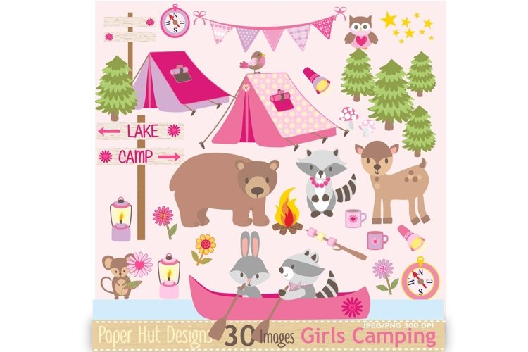 Girls Camping Clipart example image 1