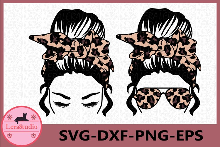 Messy Bun bandana Leopard svg, Girl with lashes Svg example image 1