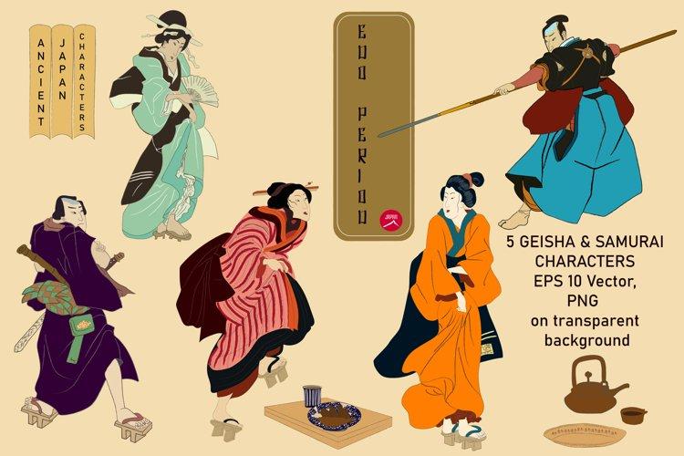 Ancient Japanese Edo Period, Geisha & Samurai Characters