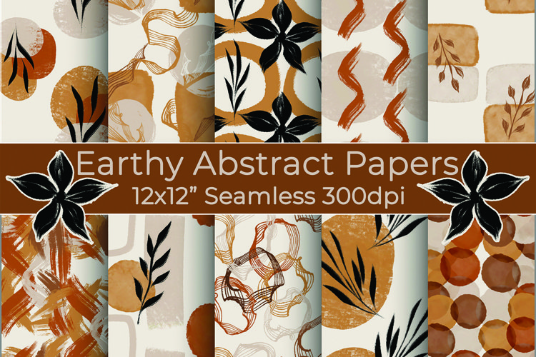 Earthy Abstract, Seamless Digital Paper Pack