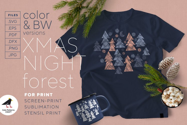 Christmas night forest - sublimation, stencil, screen-print example image 1