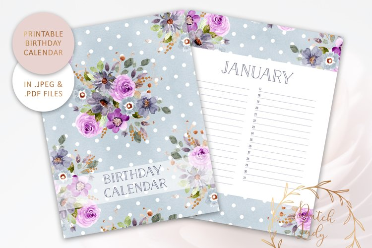 Printable Birthday Calendar #3 - JPEG & PDF Files