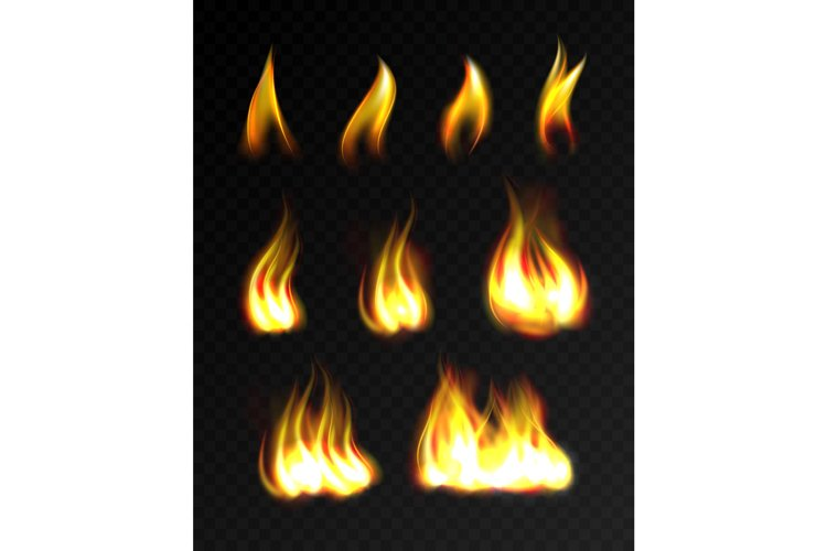 Realistic fire flames set example image 1