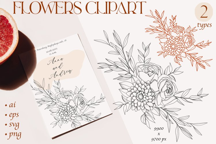 Line art flowers cliparts sublimation, vector svg example