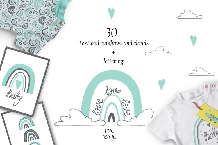 Rainbow and cloud clipart set of 30 elements PNG
