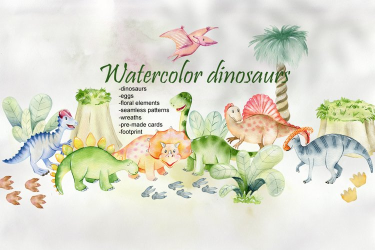 Watercolor Dinosaurs. Kit. example image 1