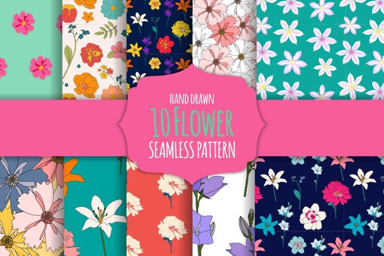 Seamless Flower Pattern Set example image 1
