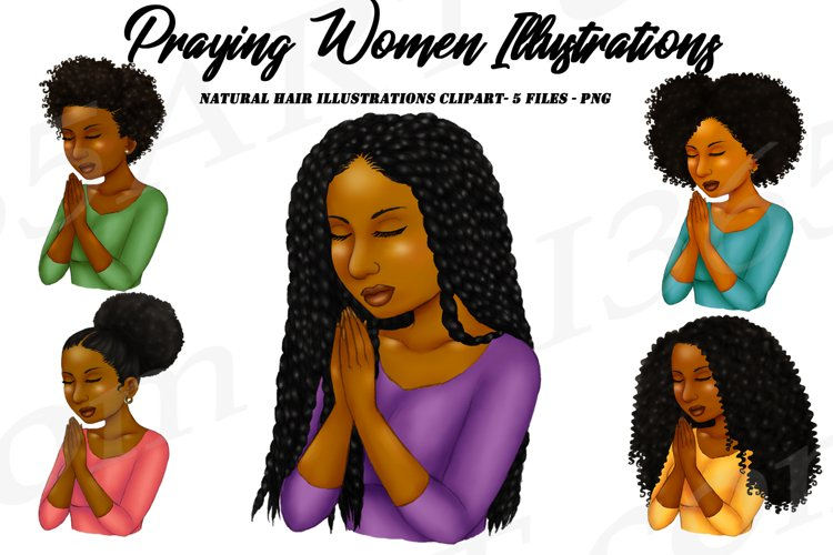 Praying Woman African American Natural Hair Clipart PNG example image 1