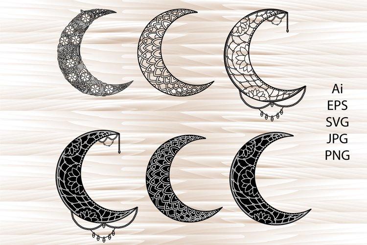Moon mandala, mandala svg, zentangle svg example image 1