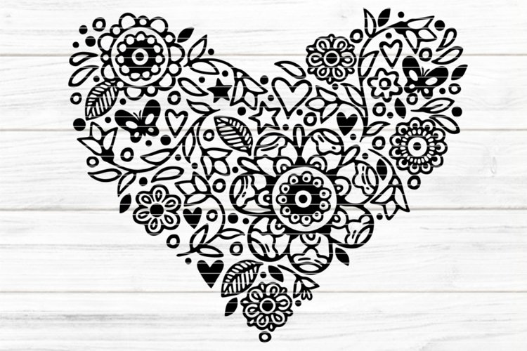 Flowerhearts SVG DXF EPS PDF PNG JPG example image 1
