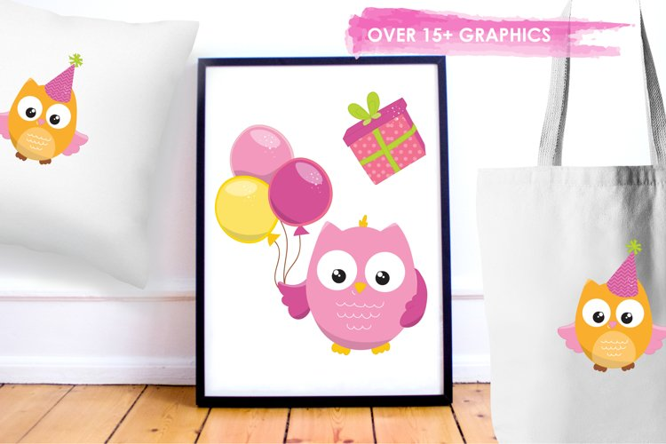 Birthday Owls Girls  graphics and illustrations - Free Design of The Week Design3