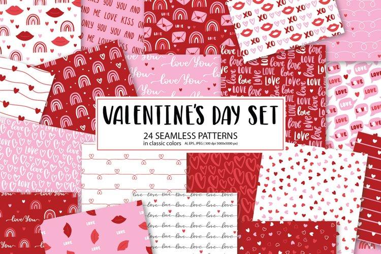 Valentines Day seamless patterns