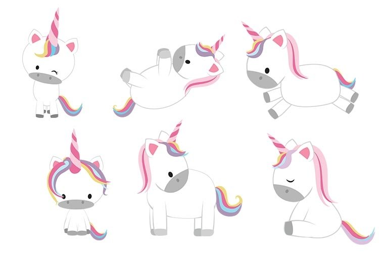 Cute Unicorn Clipart, Baby Unicorn example image 1