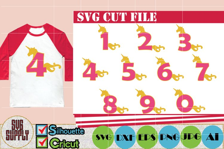 Birthday SVG  Unicorn Numbers SVG Cut File