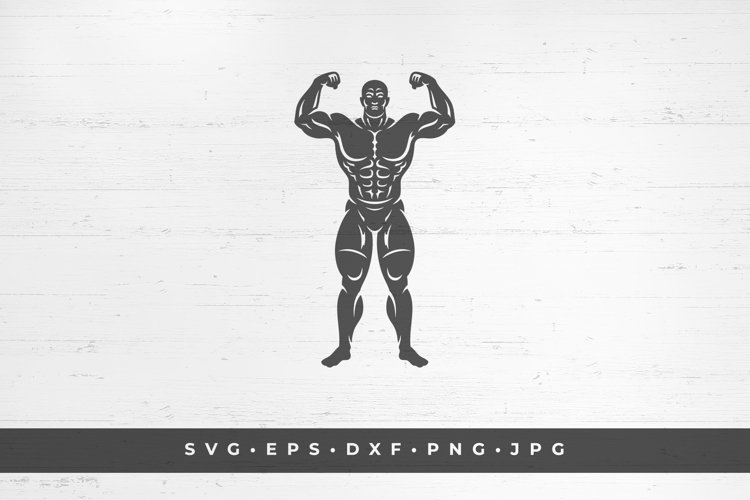 Male bodybuilder silhouette vector illustration example image 1