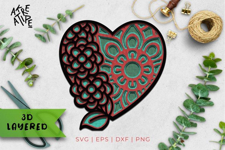 3D Layered Love SVG | Love Cut File | Mandala SVG | Vol 3 example image 1
