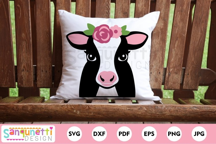 Cow with flowers farm animal svg