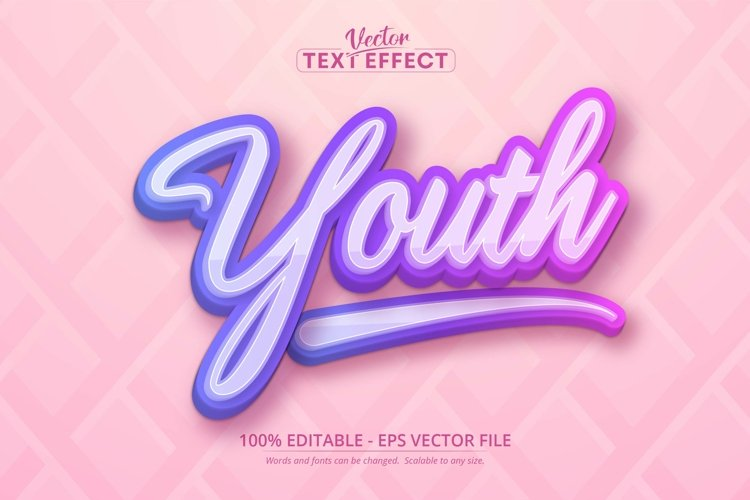 Youth text, multicolor gradient style editable text effect example image 1