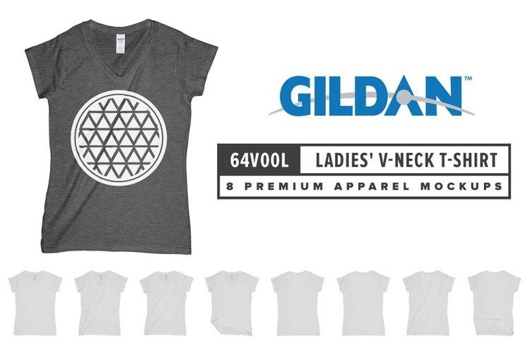 Gildan 64V00L Ladies V-Neck T-Shirt