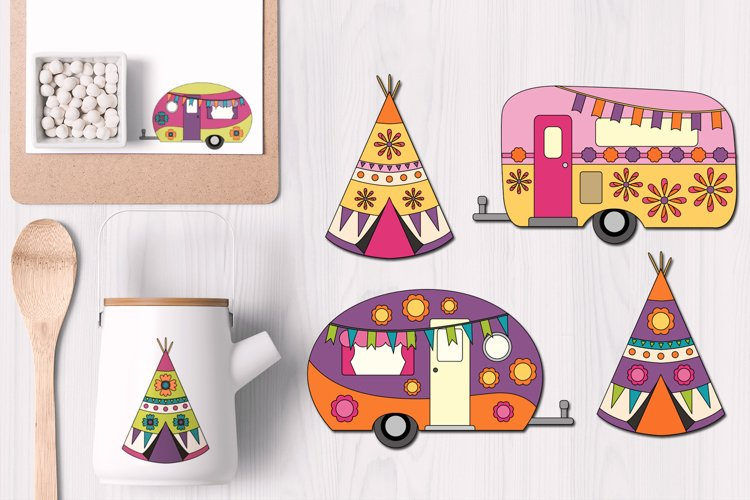 Happy camper Teepee Tent - Camping Caravan Graphics example image 1