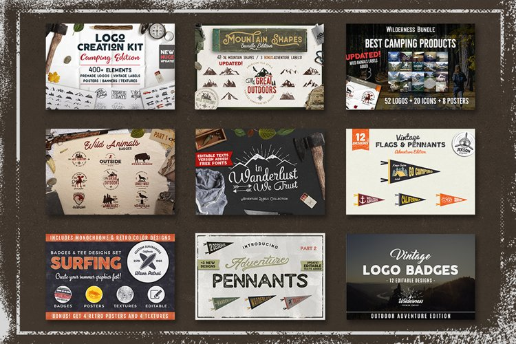 Adventure SVG Mega Bundle, Logo Creator Kit, Camping DXF Set