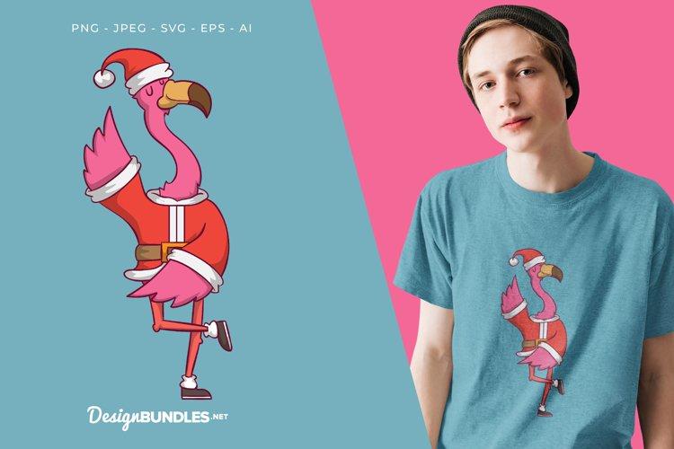 Santa Claus Flamingo Vector Illustration For T-Shirt Design
