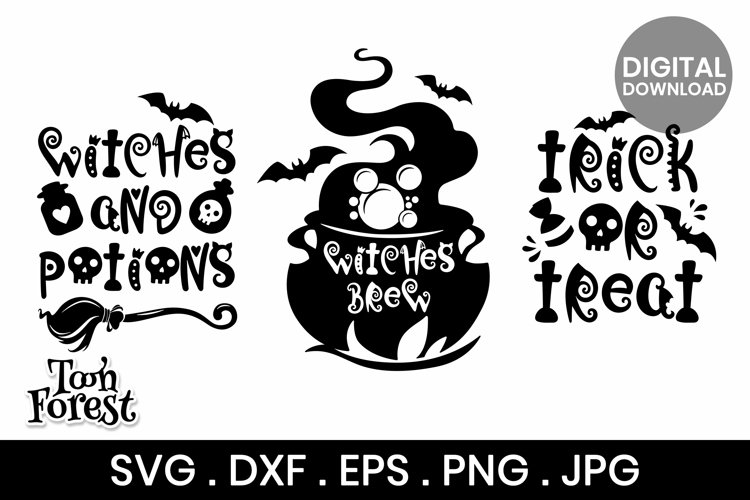 Halloween Quotes SVG, DXF, EPS, and Png Cut Files Bundle example image 1