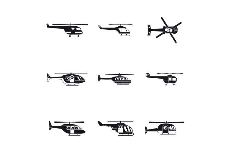 Helicopter military icons set, simple style example image 1