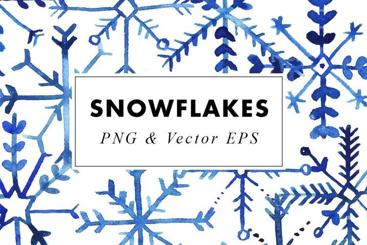 Watercolor Snowflake Illustrations Clip Art in PNG   Vector