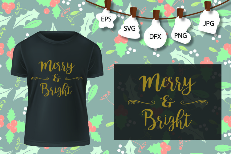 Merry and Bright Svg, Merry Christmas SVG, Christmas SVG example image 1