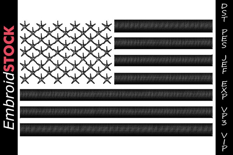 3D Puff USA Flag Embroidery Design