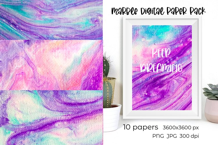 Marble digital paper pack. Purple digital scrapbook paper