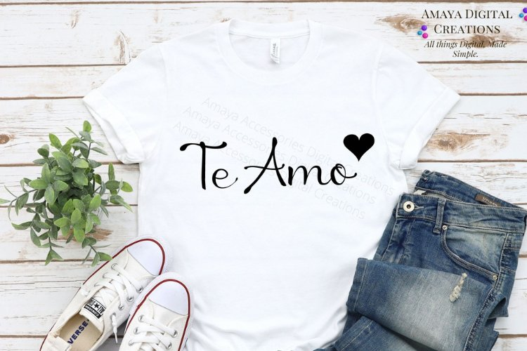 Te Amo SVG, Instant Download example image 1