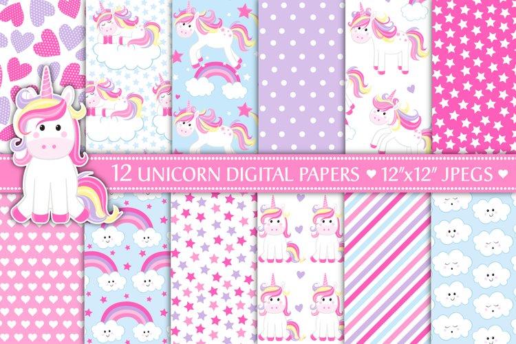Unicorn Digital Papers, Cute Unicorn Patterns