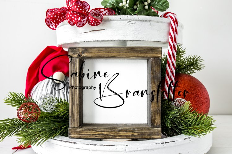 Mockup - Square Wood Sign Christmas Photography