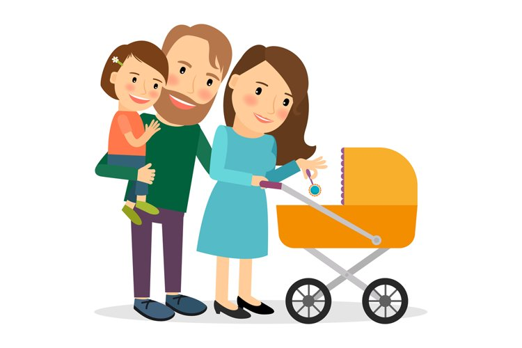Family with baby in stroller example image 1