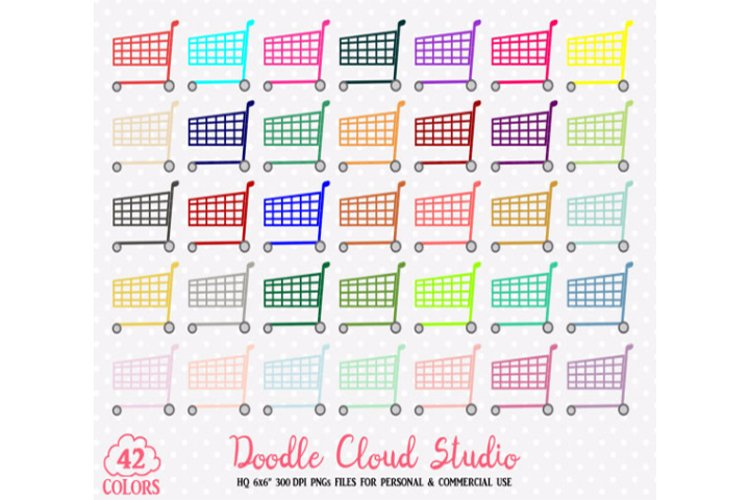 Colorful Shopping Cart Clipart Rainbow Shop Trolley  Grocery Store illustration PNG with Transparent Background Personal   Commercial Use