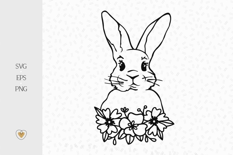 Bunny with flowers svg, Rabbit face svg, Easter bunny svg