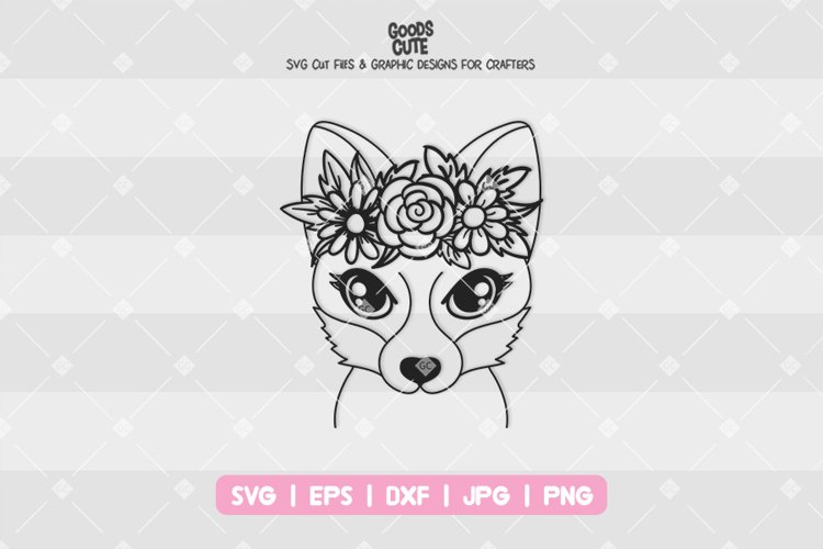 Fox With Flower Crown - SVG example image 1