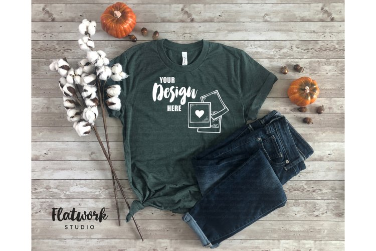 Fall Mockup | Bella Canvas 3001 T-shirt | Forest Green example image 1