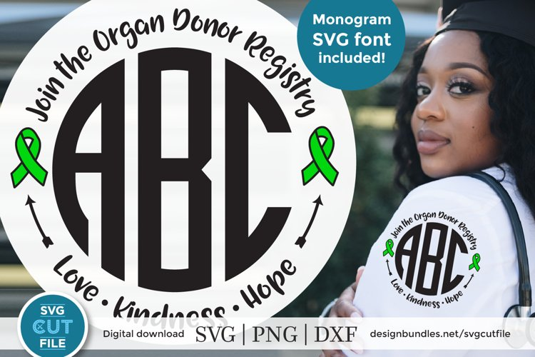 Organ Donor Registry svg - An organ donor monogram svg example image 1