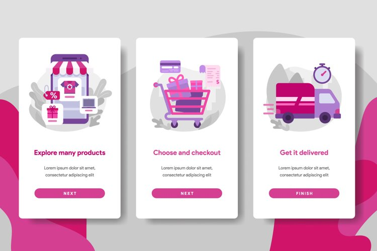Onboarding screen page template of Online Shopping example image 1