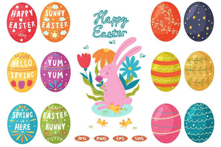 Set Happy Easter egg clipart, digital paper, postcard example image 1
