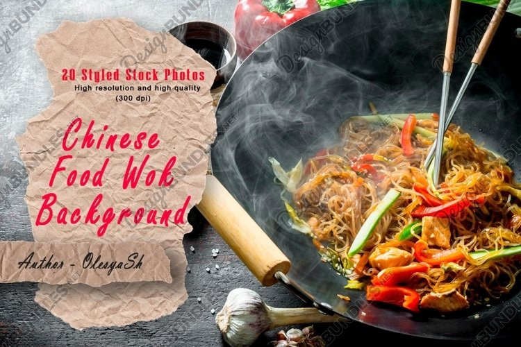 20 Photos Hot Chinese wok Udon noodles with shrimps.