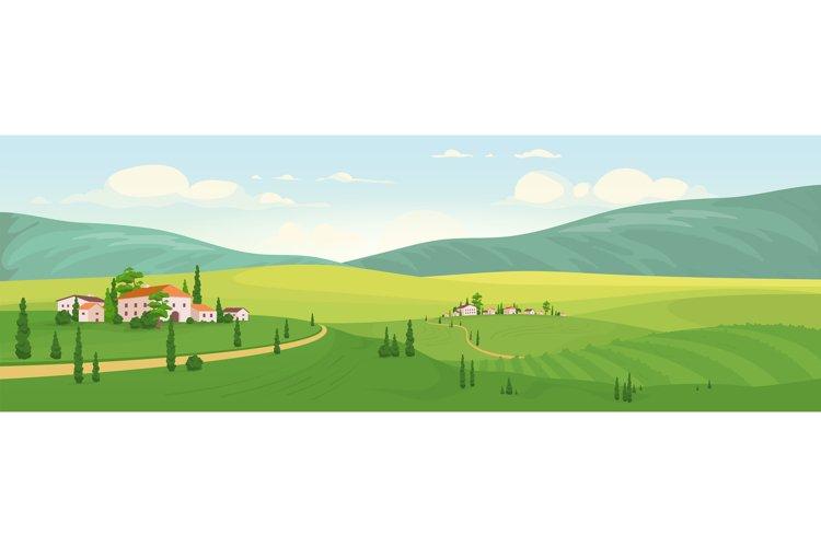 Idyllic rural scenery flat color vector illustration example image 1